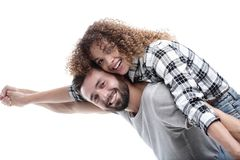 Портрет жизнерадостной и счастливой пожененной пары Стоковое Фото
