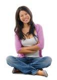 Портрет жизнерадостной азиатской женщины стоковые изображения rf