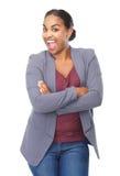 Портрет жизнерадостный смеяться над молодой женщины стоковое изображение