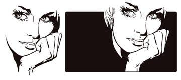 Портрет заботливой девушки шток померанца иллюстрации предпосылки яркий Стоковые Фотографии RF
