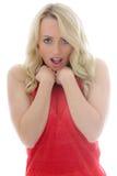 Портрет заволакивания девушки застенчивого и смущенного ее взгляд скромности Стоковое Изображение RF
