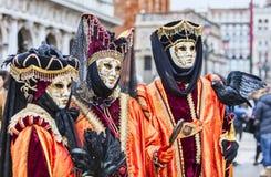 Портрет замаскированных людей - масленица 2014 Венеции Стоковые Фотографии RF