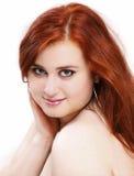Портрет застенчивой красной женщины волос Стоковое Изображение