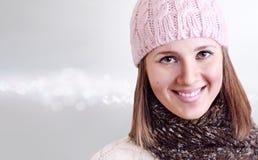 Портрет зимы девушки красотки Стоковое Изображение RF