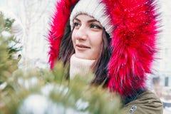 Портрет зимы девушки перед зеленой рождественской елкой Стоковое Изображение RF