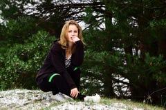Портрет зимы девушки Стоковая Фотография