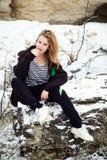 Портрет зимы девушки Стоковые Изображения