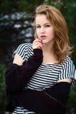Портрет зимы девушки Стоковое фото RF