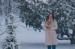 Портрет зимы женщины в белом пальто во время снежностей в парке Стоковое фото RF