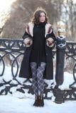 Портрет зимы женщины на улице зимы Стоковая Фотография RF