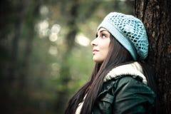 Портрет зимы женщины Стоковое Изображение