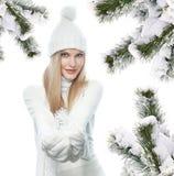 Портрет зимы красоты женщины стоковые фотографии rf