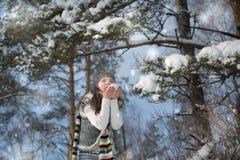 Портрет зимы Молодая, красивая низовая метель женщины к камере на предпосылке зимы Стоковое Фото