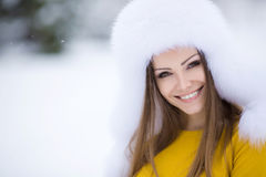 Портрет зимы очень красивой женщины стоковая фотография
