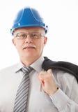 Портрет зрелого бизнесмена в голубых касках Стоковая Фотография RF