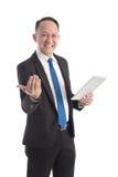 Портрет зрелого бизнесмена с цифровой таблеткой Стоковые Фотографии RF