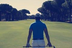Портрет игрока гольфа от задней части Стоковые Фото