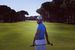 Портрет игрока гольфа от задней части Стоковая Фотография