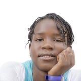 Портрет изолированного девочка-подростка Афро, изолированный, отсутствие состава Стоковое Изображение RF
