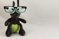 Портрет изолированных eyeglasses смешного милого светляка плюша нося Стоковые Фото