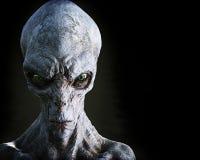 Портрет инопланетянина чужеземца мужского на темной предпосылке с комнатой для космоса текста или экземпляра иллюстрация вектора
