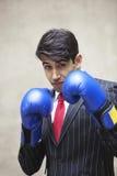Портрет индийского бизнесмена нося голубые перчатки бокса против серой предпосылки Стоковое Фото