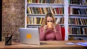 Портрет кавказской маленькой девочки с прошивкой внимательно работая с напитком напитков ноутбука горячим на книжных полка видеоматериал