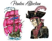 Портрет капитана пирата и старого парусника бесплатная иллюстрация