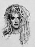 портрет карандаша Стоковое фото RF