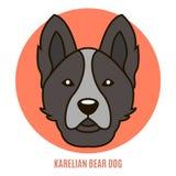 Портрет карельской собаки медведя Иллюстрация вектора в стиле f Стоковая Фотография RF