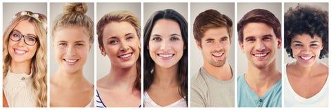 Портрет 7 коллажа людей широко Стоковая Фотография RF