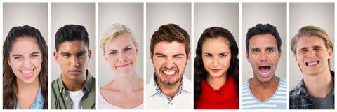 Портрет 7 коллажа людей широко Стоковые Фотографии RF
