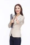 Портрет коммерсантки с таблеткой Стоковое Изображение RF