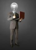 портрет компьтер-книжки головной лампы бизнесмена стоковая фотография rf