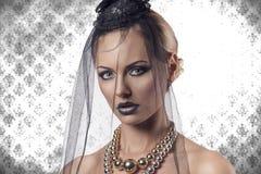 Портрет конца-вверх девушки хеллоуина goth Стоковая Фотография