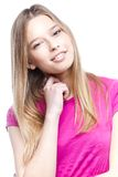 Портрет конца-вверх красивой молодой женщины стоковое изображение