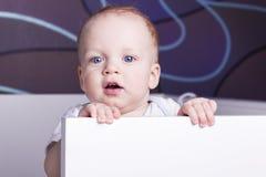 Портрет конца-вверх милого ребёнка в шпаргалке Прелестный открыт-изреченный ребёнок смотря камеру стоковая фотография rf