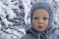 Портрет конца-вверх прелестного малыша против предпосылки зимы скопируйте космос Стоковое Изображение RF