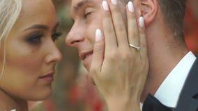 Портрет конца-вверх счастливых пар новобрачных в влюбленности Очаровательная белокурая невеста нежно штрихует ее щеку любовника сток-видео