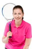 Портрет конца-вверх усмехаясь девушки с ракеткой тенниса Стоковые Фотографии RF