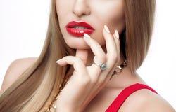 Портрет конца-вверх элегантной женщины с ярким составом, красных губ, длинных плеток, прямых длинных волос, совершенных бровей Стоковая Фотография RF