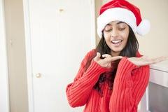 Портрет красивейшей девушки рождества Стоковое фото RF