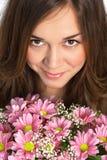 Портрет красивейшей девушки с роскошными длинними волосами и пинком Стоковое Изображение RF