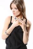 Портрет красивейшей девушки на белизне Стоковое Изображение