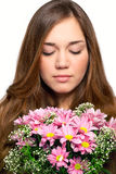 Портрет красивейшей девушки с роскошными длинними волосами и пинком Стоковое Фото