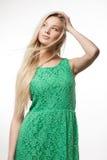 Женщина в зеленом платье Стоковая Фотография RF
