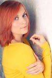 Портрет красивейшей красн-с волосами девушки Стоковые Изображения