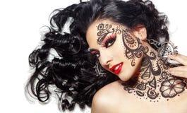 Красивейшая девушка с искусством тела Стоковое Изображение