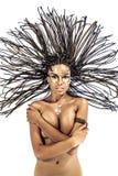 Портрет красивейшей нагой молодой женщины афроамериканца с Стоковая Фотография RF