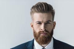 Портрет красивого бородатого бизнесмена смотря камеру Стоковая Фотография RF